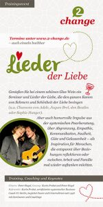 """Flyer zur Veranstaltung """"Lieder der Liebe"""" von 2-change, Seminar zusammen mit Peter Siegel, Gitarre"""